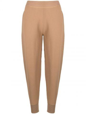 Brown compact high-waisted track pants