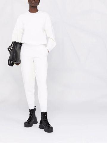 White compact-knit sweatpants