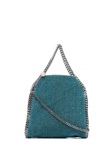 Green Falabella Mini Glittery Lurex Tote bag