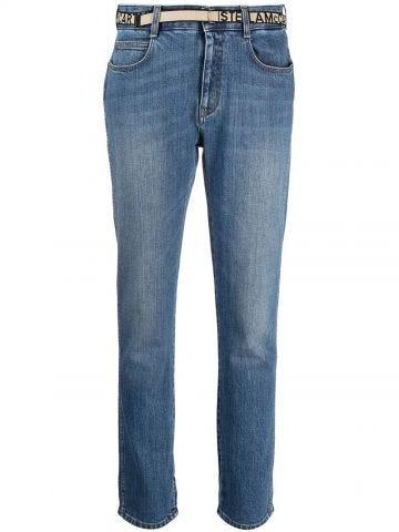 Logo band slim jeans
