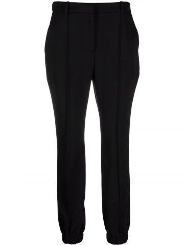 Black wool straight cut pants