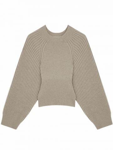 Short beige knit sweater