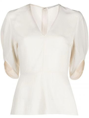 White V-neck Melody blouse