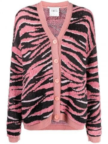 Pink zembra print cardigan