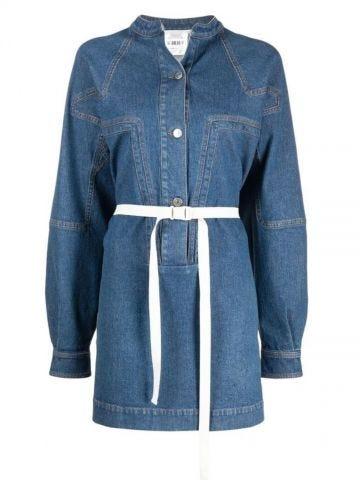 Blue belted denim shirt-dress