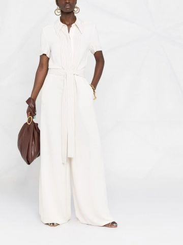 White Wendy wide-leg belted jumpsuit