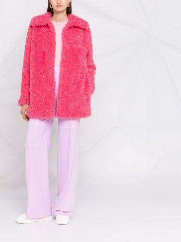 Pink Kyla oversized coat in faux fur
