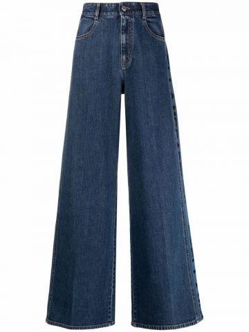 Logo wide leg jeans