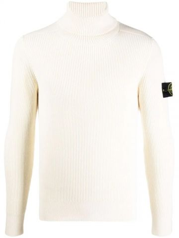 Whte roll neck logo-patch sweater