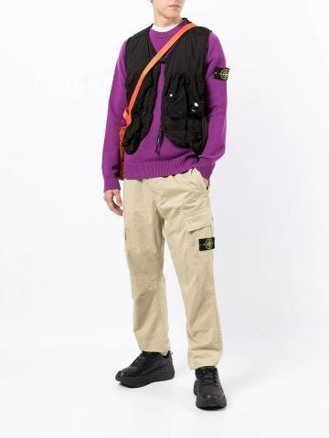 Purple logo-patch knitted sweater