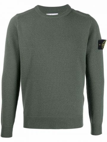 Green logo-patch knitted sweater