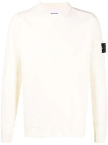 Maglione a girocollo bianco con logo