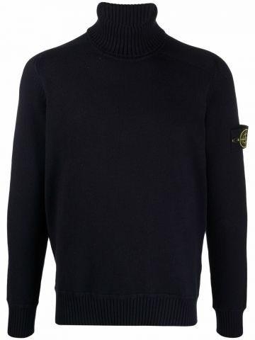 Black roll neck logo-patch sweater