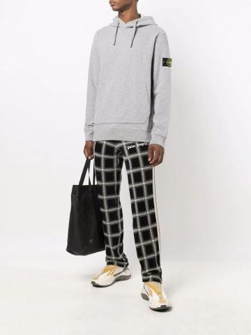 Grey logo-patch cotton hoodie