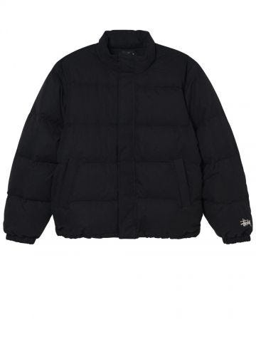 Black solid nylon quilted puffer jacket