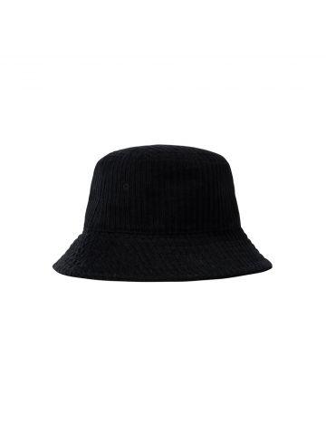Cappello da pescatore in velluto nero a coste con logo