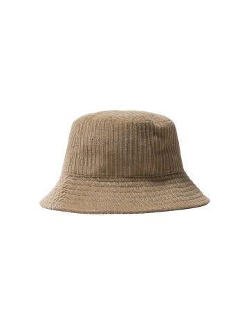 Brown ribbed velvet bucket hat with Stussy logo