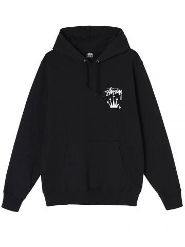 Black hooded sweatshirt with logo