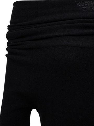 Black wool blend off-the-shoulders sweater