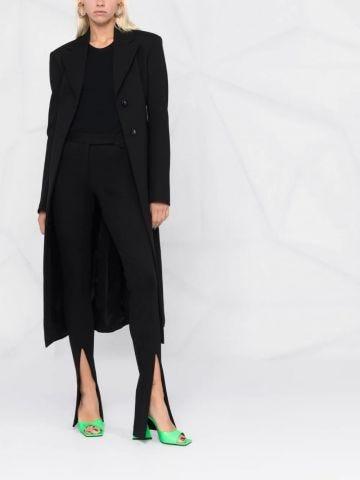 Black slit-cuff trousers