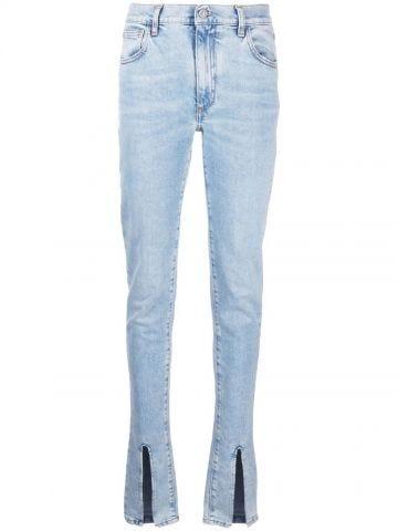 Jeans dritti con spacco blu