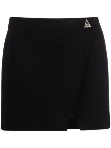 Black logo-plaque mini skirt