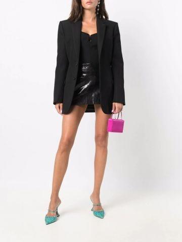 Black leather zipped mini skirt