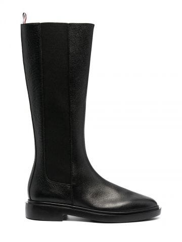 Stivaletti Chelsea alti al ginocchio leggeri in pelle martellata nera 4-Bar con suola in gomma