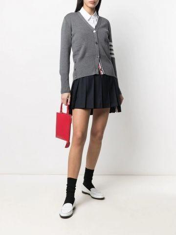 Blue dropped back mini pleated skirt