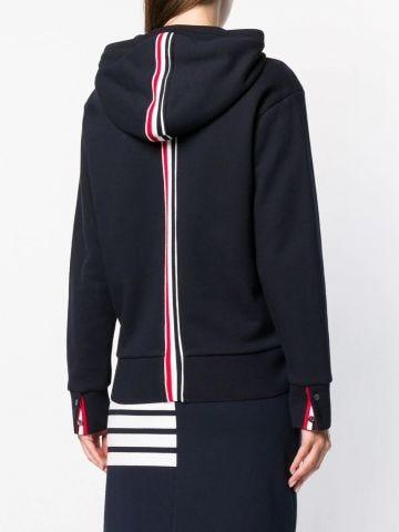 Blue center-back stripe zip-up hooded sweatshirt