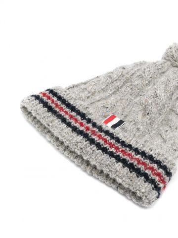 Grey cable-knit RWB beanie
