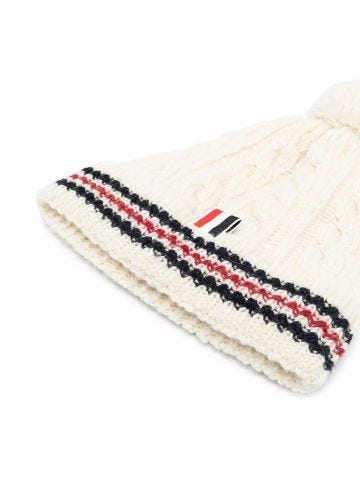 White cable-knit RWB beanie