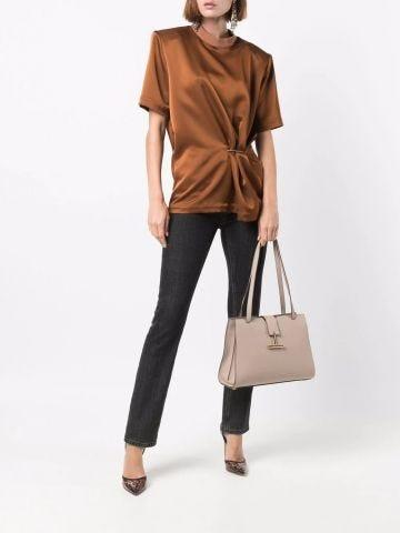 Beige large Tara shoulder bag