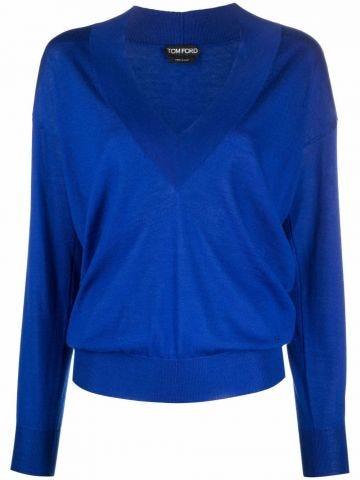 Maglione blu con scollo a V