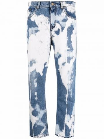 Blue acid-wash jeans