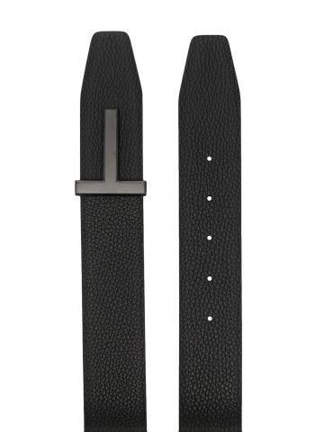 Black T Icon leather belt