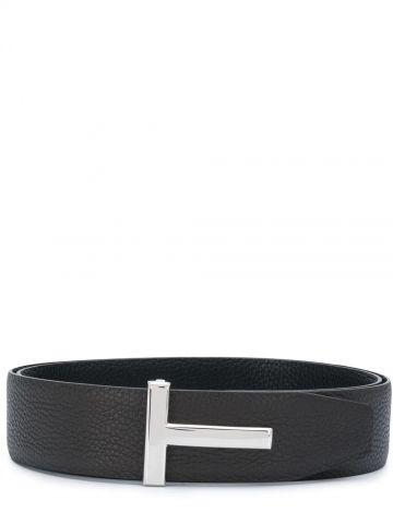 Black T Icon reversible leather belt