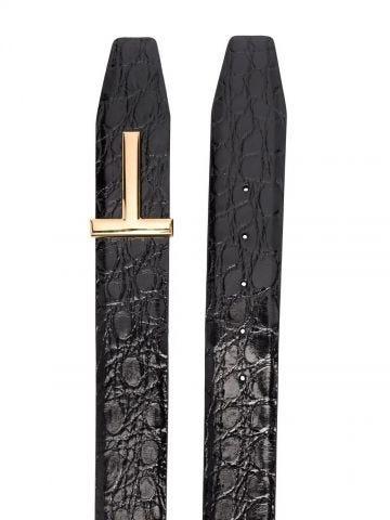 Cintura T nera con effetto cocodrillo