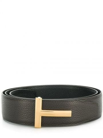 Brown T Icon reversible leather belt