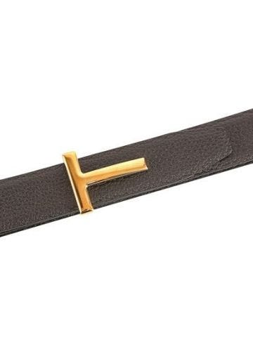 Brown leather T belt