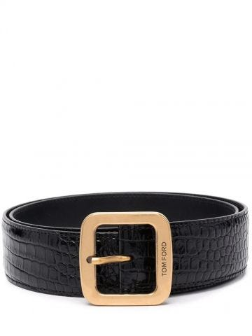 Black calf leather crocodile-effect leather belt