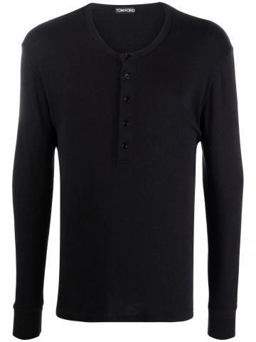 Black button placket round neck T-shirt