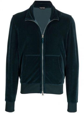 Crushed-velvet zip-fastening jacket