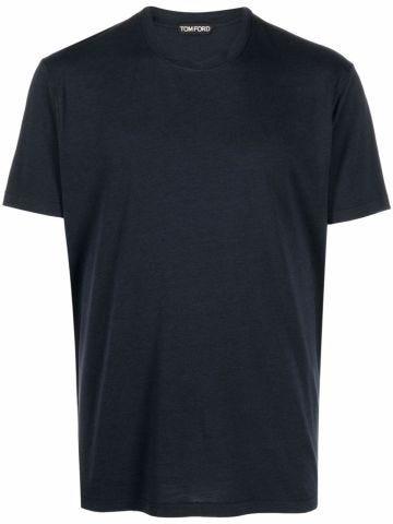 Crewneck shortsleeved T-shirt in navy blue