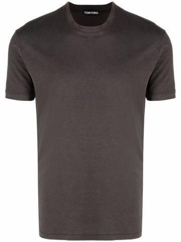 Crewneck shortsleeved T-shirt in brown