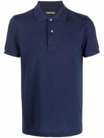 Blue short-sleeved cotton polo shirt