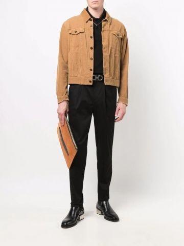Black short-sleeve polo shirt