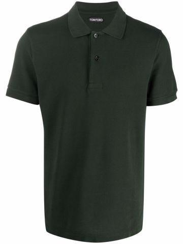 Khaki short-sleeved cotton polo shirt