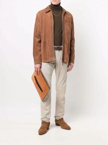 Brown wool long-sleeve roll-neck top