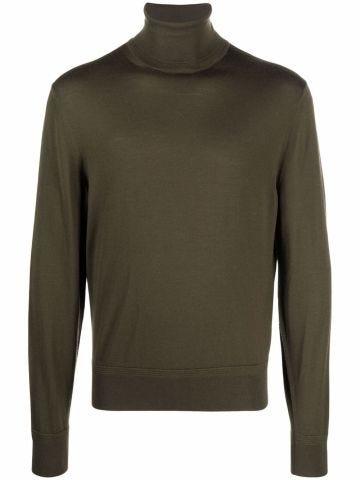 Green wool long-sleeve roll-neck top